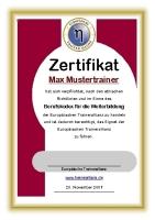 Ein Muster-Zertifikat der Europäischen Trainer Allianz